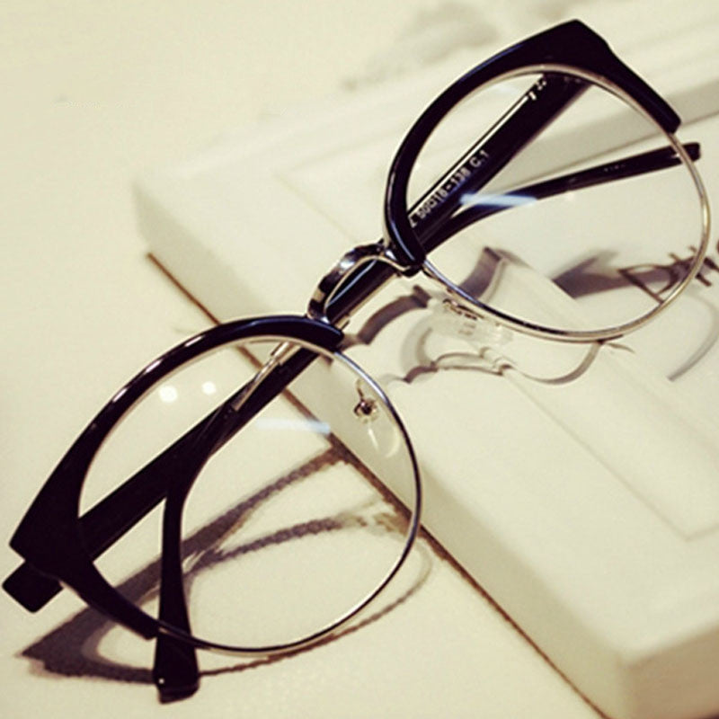 Fashion Cat Eye Half Metal Frame Glasses For Women/Men Retro Vintage Unisex Glasses Big Frame Slim Face Eyewear Glasses
