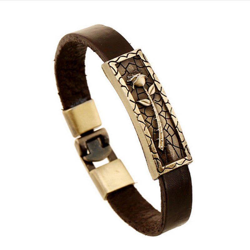 Fashion Charm Stainless Steel Leather Bracelet For Men Popular Bracelets & Bangles retro leather bracelet