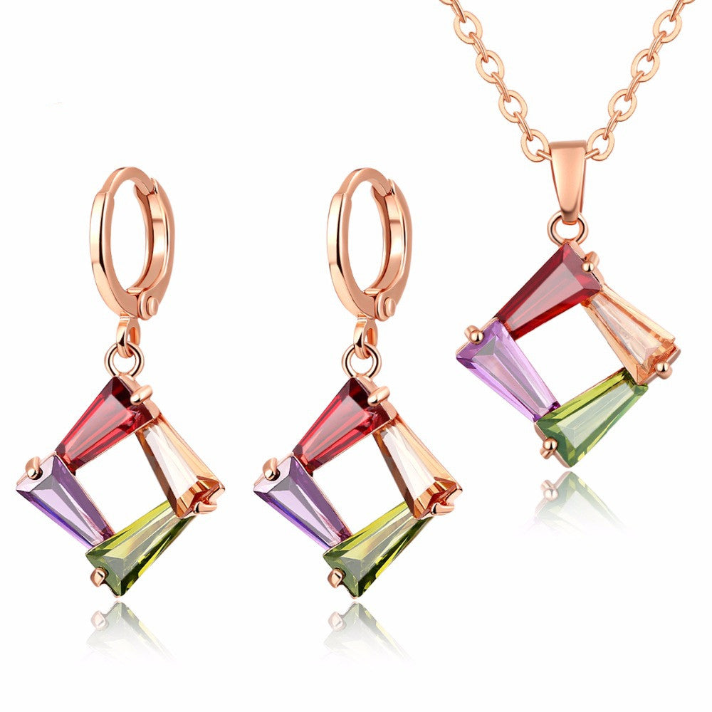 Fashion Colorful Jewelry Sets CZ Diamond Gold Rose Plated Necklace&Earrings Hypoallergenic Copper Sets for Women Party