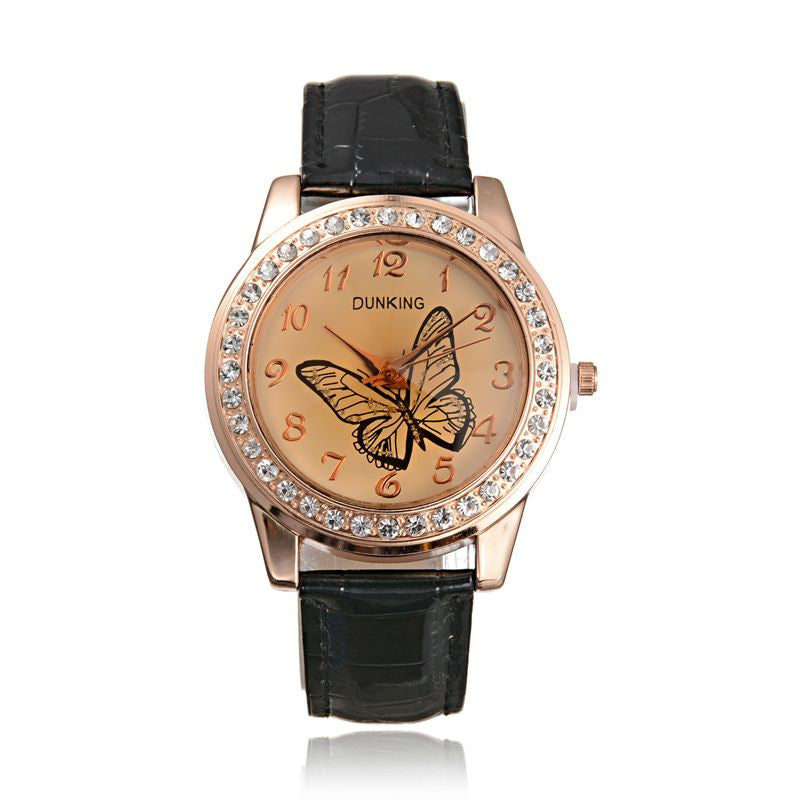 New Fashion Cute Butterfly Rhinestone Casual Leather Rhinestone Quartz Women Dress Watches