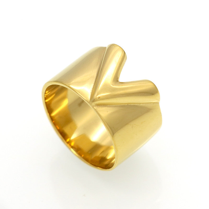 Fashion Famous Brand Men/Women Ring Jewelry Double Color 18K Gold Plated Titanium Steel High Polished Luxury Love V Ring