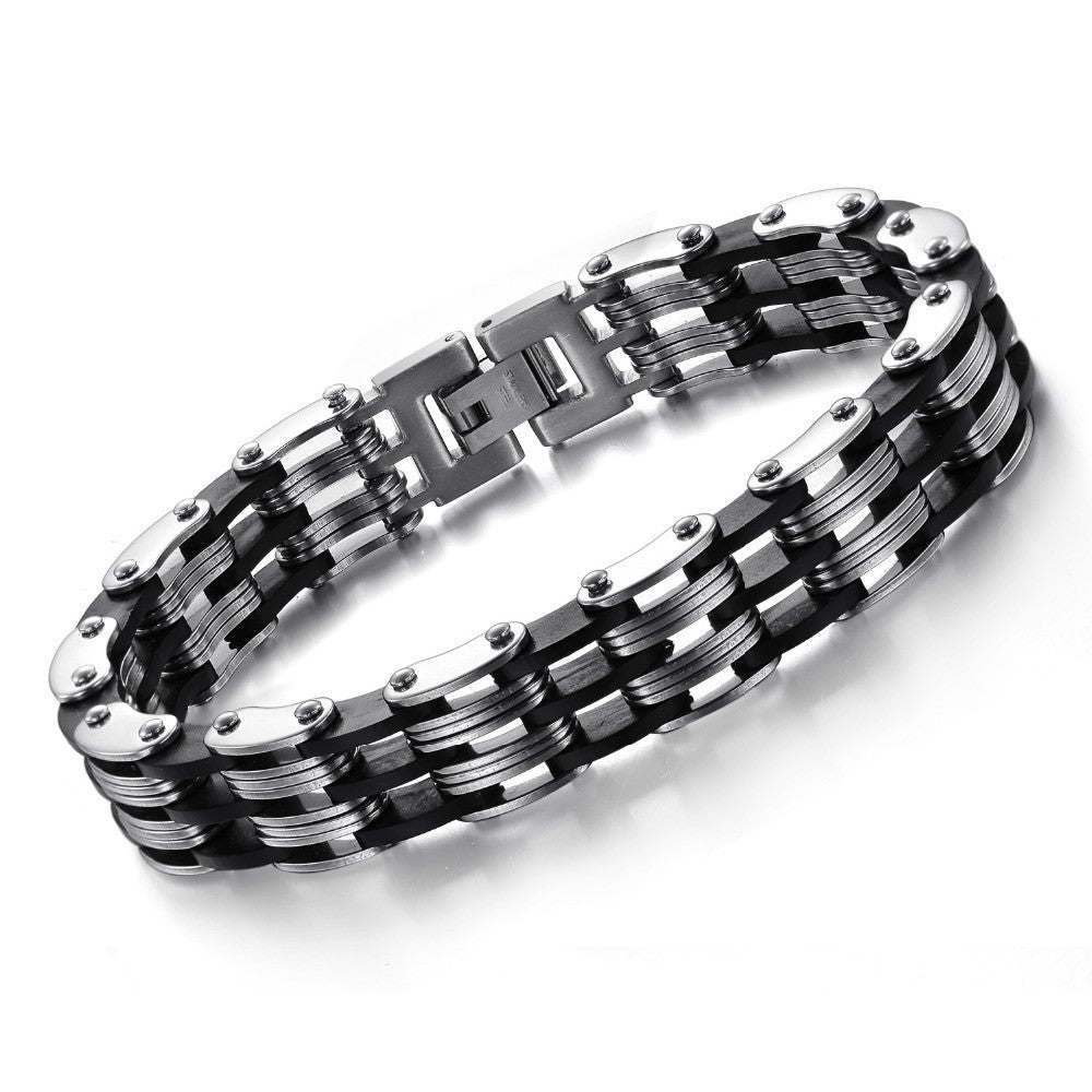 Fashion Friendship Bracelet Men Punk Black Silicone Men's Mens Bracelets Bangles Bracciali Uomo Link Chain Bracelets For Women