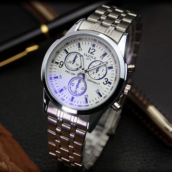 Fashion Full Steel White Black Blue Ray Dial 30m Waterproof Luminous Hands Business Dress Sport Wrist watch Watches for Men