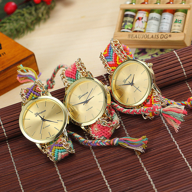 Fashion Geneva Watches Women Quartz Watches Multicolor Friendship Watch Braided Rope Bracelet Watch
