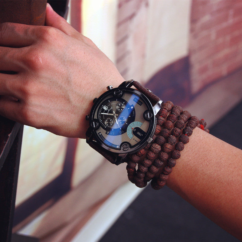 JIS High Quality Blue Ray Black Brown Leather Band Steel Shell Men Male Quartz Watch Wristwatches Clock