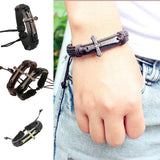 High Quality Vintage men jewelry Scripture cross metallic Black & brown Leather Braid Bracelets & Bangles