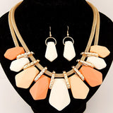 Fashion Jewelry Sets Gold Chain Geometric Shaped Earrings Sets Pendant Necklace Set For Women Wedding Dress bijoux