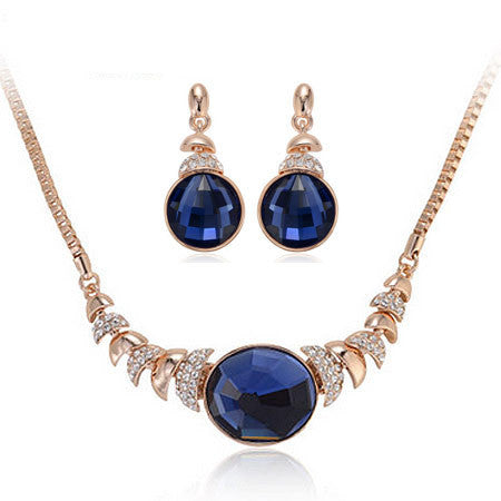 Fashion Jewelry Sets Gold/Silver CZ Diamond Necklace Earring Sets Crystal Collares Brincos bijoux femme Women Accessories