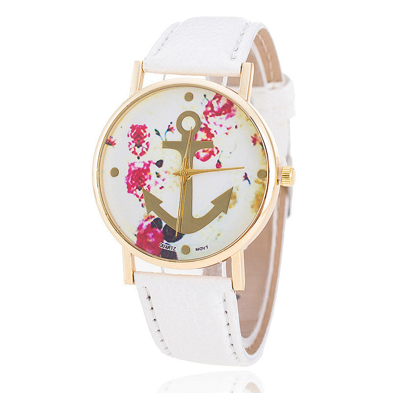 Fashion Leather Anchor Watch For Women Quartz Watches Reloj Mujer Ladies Flower Watches