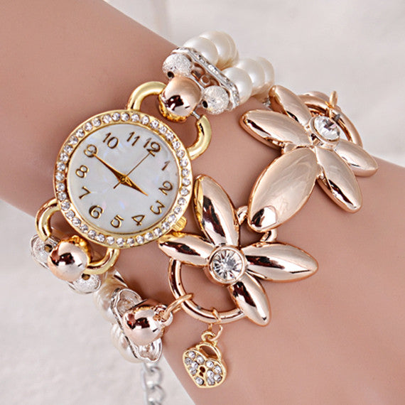 Fashion Luxury Pearl Bracelet Quartz Watches Women Casual Watch Women Wristwatches
