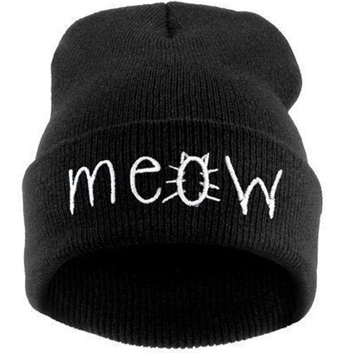 Fashion MEOW Cap Men Casual Hip-Hop Hats Knitted Wool Skullies Beanie Hat Warm Winter Hat for Women