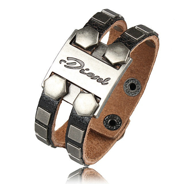 Fashion Men Bracelets Rock Punk Genuine Leather Cool Bracelet