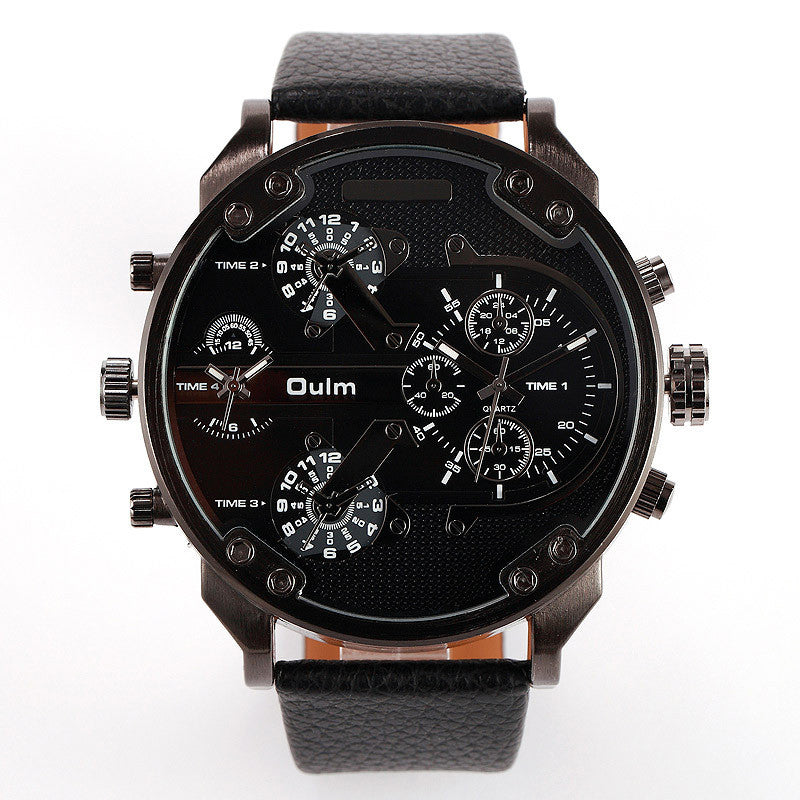 Fashion Men Watch Multi Movt Numbers Strips Hours Marks Big Dial Leather Band Men Quartz Military Wristwatch