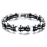 Fashion Men's Jewelry Stainless Steel Silicone Bracelet Biker Bicycle Motorcycle Chain Man Bracelets & Bangle Accessories