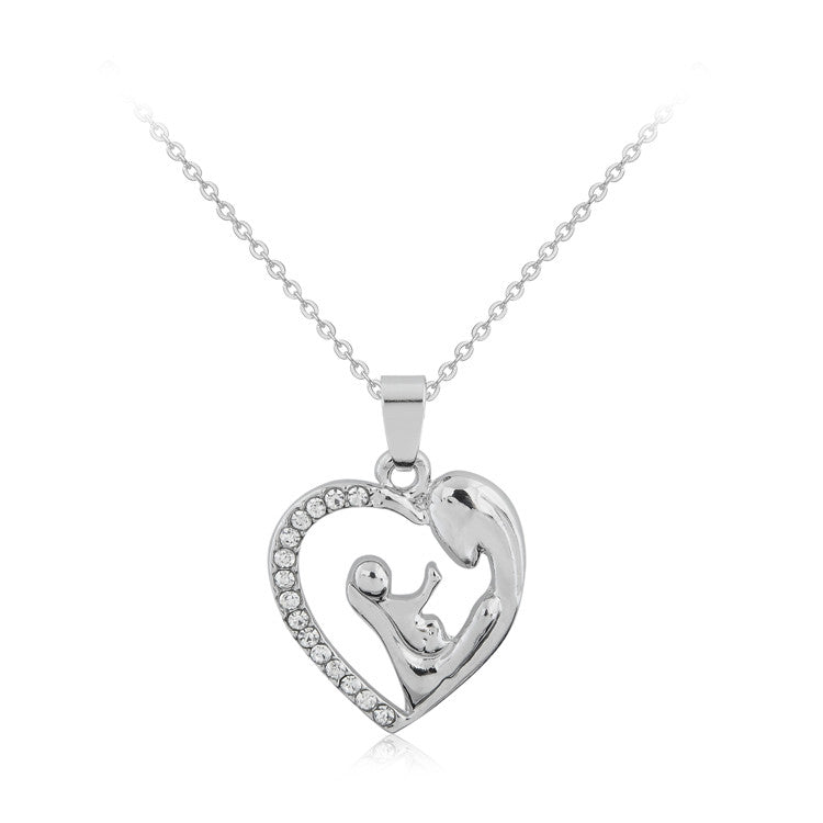 Fashion Mother's Day Gift Mother Daughter Mom Baby Child Family Love Rhinestone Heart-shaped Pendant Necklace For Mom