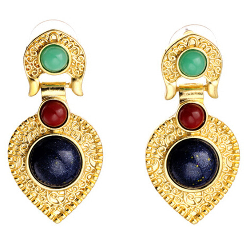 Fashion New Bohemia Alloy with Colorful Gold Stud Earrings For Women Jewelry