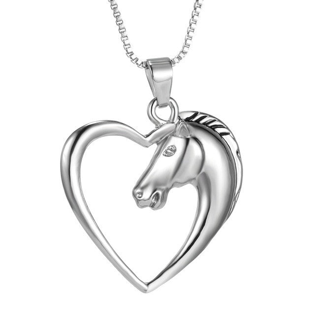 Fashion New jewelry plated white K Horse in Heart Necklace Pendant Necklace for women girl mom gifts