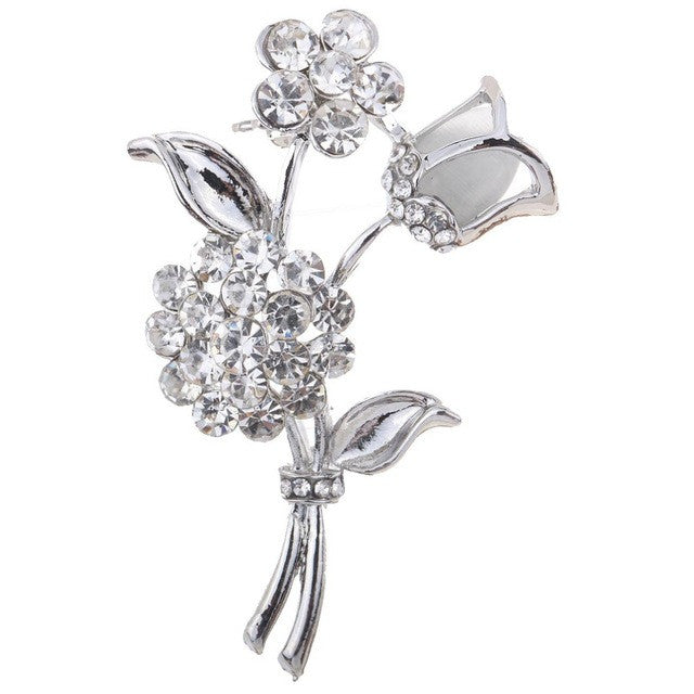 Fashion and Fine Jewelry Silver Plated Rose Flower Shaped Curve Full Shining Brooches for Women