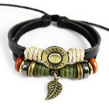 Fashion Punk Retro Alloy Leaf Pendant Adjustable Rope Braided Bracelet Leather Bracelets & Bangles For Women Men Charm Jewelry