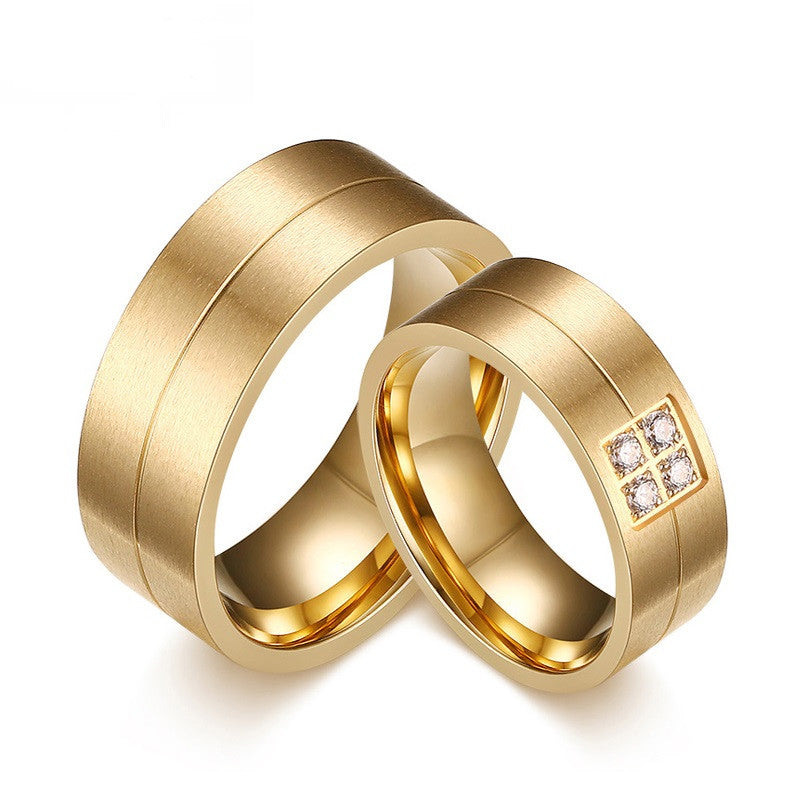 Fashion Rings Stainless Steel Rings For Women Men Wedding Rings With CZ Stone Couple Jewelry Engagement Wedding Bands