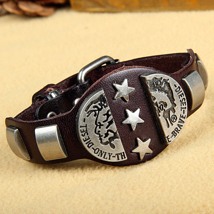 "Fashion Rock Punk Style Cool ""Brave"" star Men Woman Genuine Leather Bracelet Hotsale Kull Bracelets"