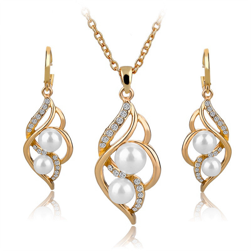 Fashion Simulated Pearl Jewelry Sets For Women Crystal Earrings Necklace Set Gold/Silver Plated Wedding Jewelry Set