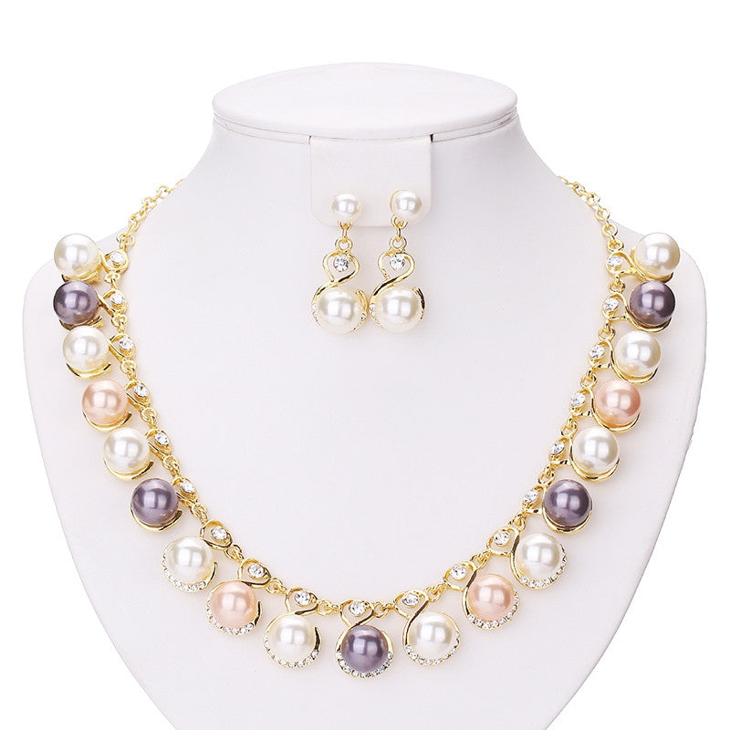 Fashion Simulated Pearl Jewelry Sets For Women Pendant Wedding Necklace Earrings African Beads Bridal Party Dress Accessories