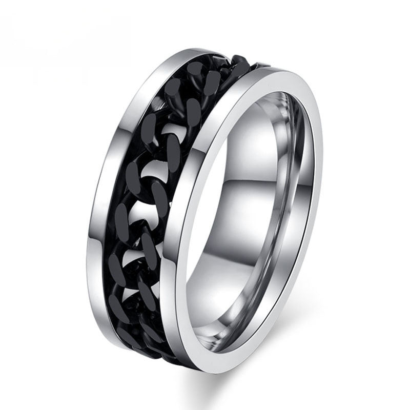 Fashion Spinner Black Chain Ring For Men Stainless Steel Wedding Mens Ring Wholesale Cool Jewelry