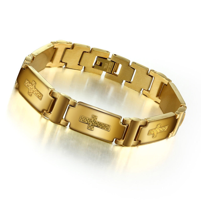 Fashion Steel Man Bracelet Charming 304L Stainless Steel with 18K Gold Plated Bracelet For Men