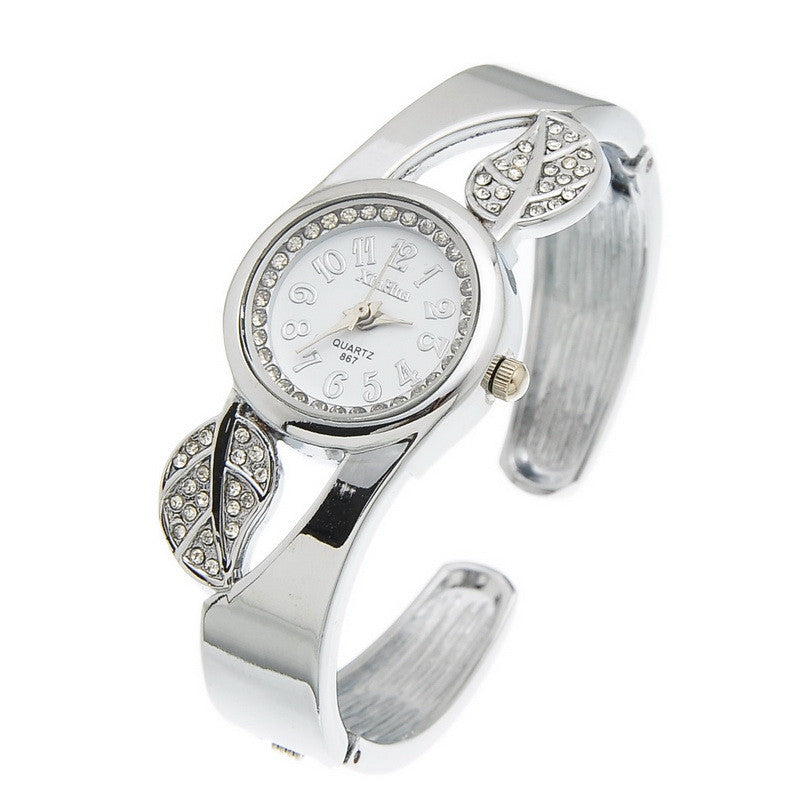 Fashion Student Children Cuff Bangle Watch Round Quartz Watch Women Dress Watch Gift Rhinestone Leaves Decor