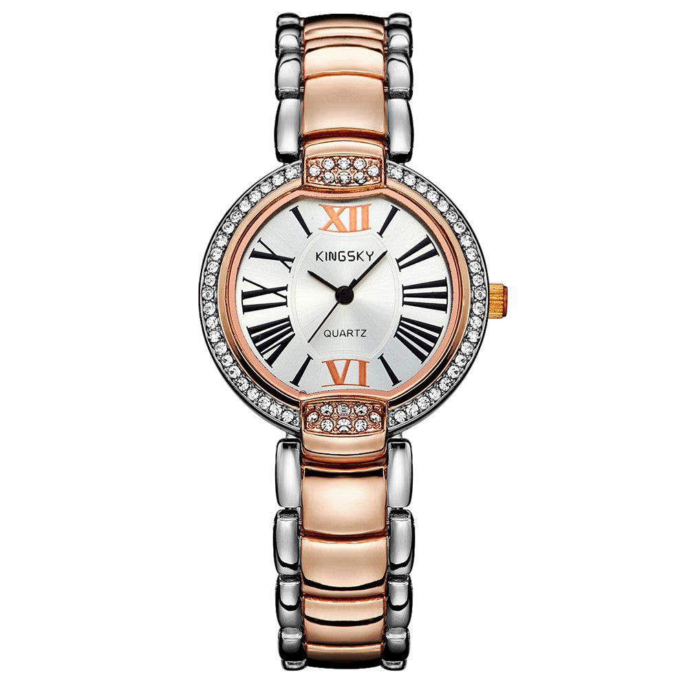 Fashion Style Women Dress Watches Luxury Brand Roman Number Rose Gold Stainless Steel Band Women Rhinestone Wristwatches Relogio