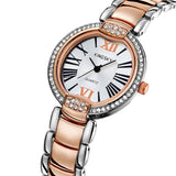 ashion Style Women Dress Watches Luxury Brand Roman Number Rose Gold Stainless Steel Band Women Rhinestone Wristwatches Relogio