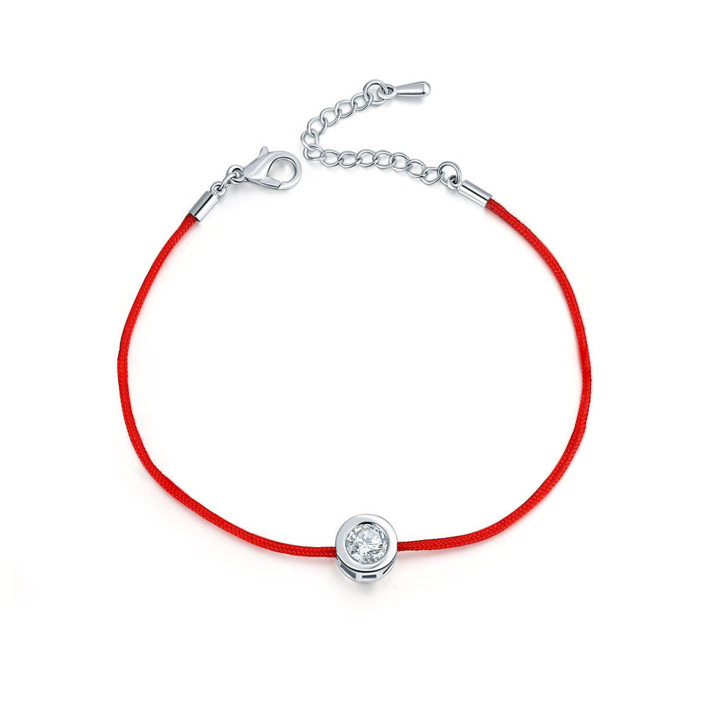 Fashion Thin Red Cord Thread String Rope Chain with CZ Diamond Sliver Plated Bracelet 16+5cm Length for Female Jewelry