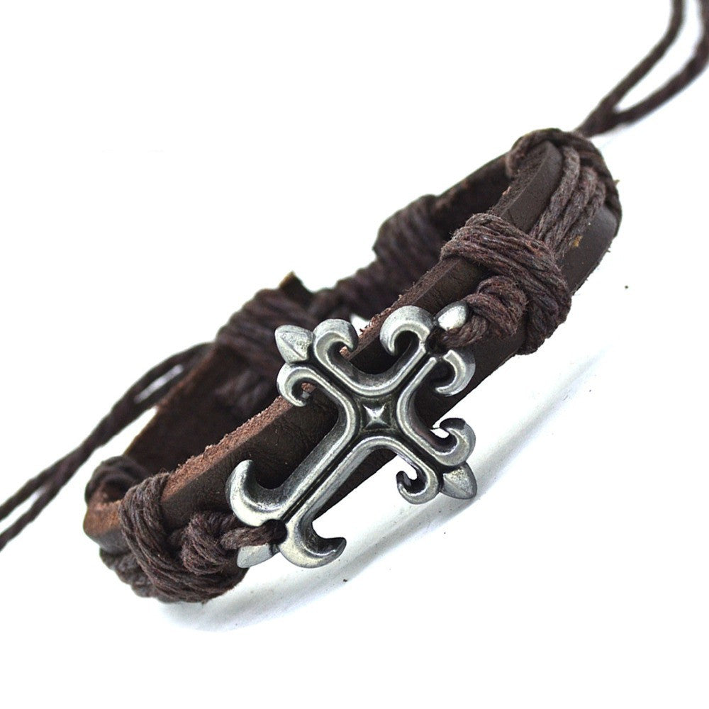Fashion Tibetan Cross Charms Alloy Black Genuine Leather Bracelets Men & Women Bracelet Bangles Jewelry
