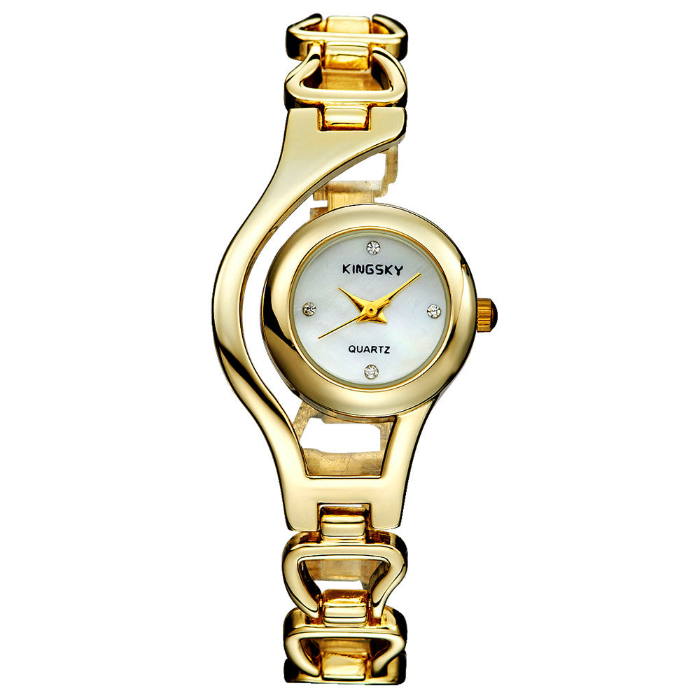 Fashion Unique Design Quartz Watch Women Luxury Gold Plating Bracelet Bling Brass Dial Analog Display Dress Rhinestone Watches