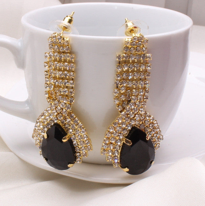 Fashion Water Drop Rhinestone Crystal Vintage Earrings for Women