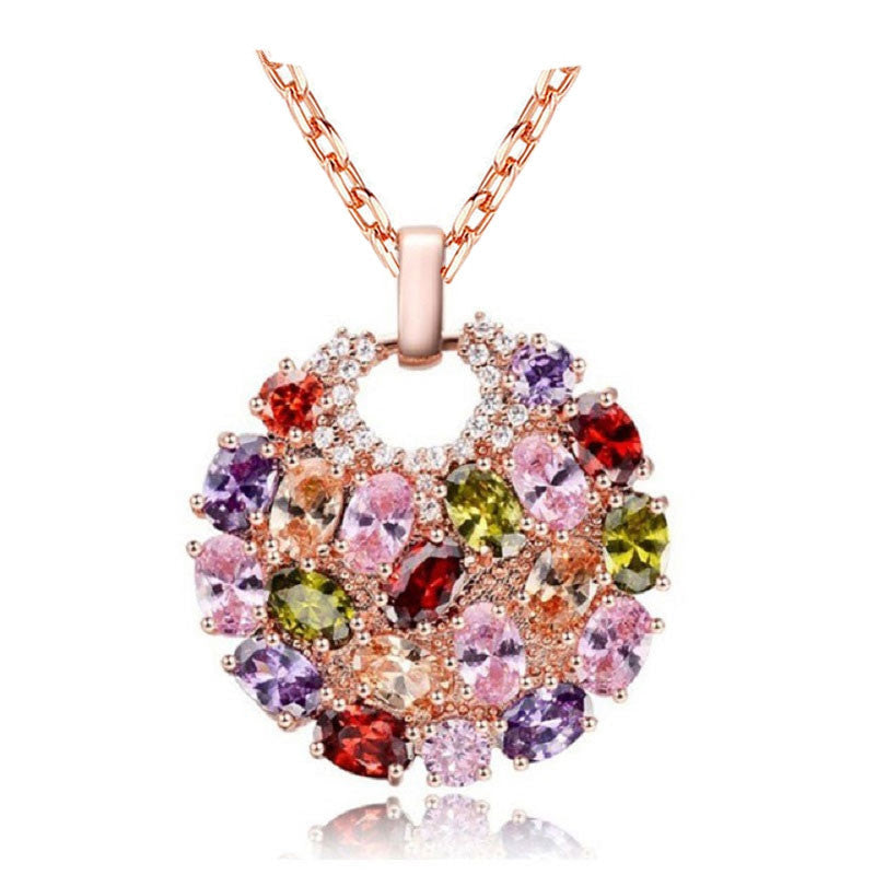 Fashion Women Genuine AAA Cubic Zirconia Stone Wedding Necklace Real Rose Gold Plated Jewelry Accessories for Women Party