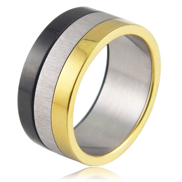 Fashion Women Jewelry 316L Stainless Steel Rings Glazed Exaggerated Wide Slippy 3 Color Casual Party Ring For Men/Women