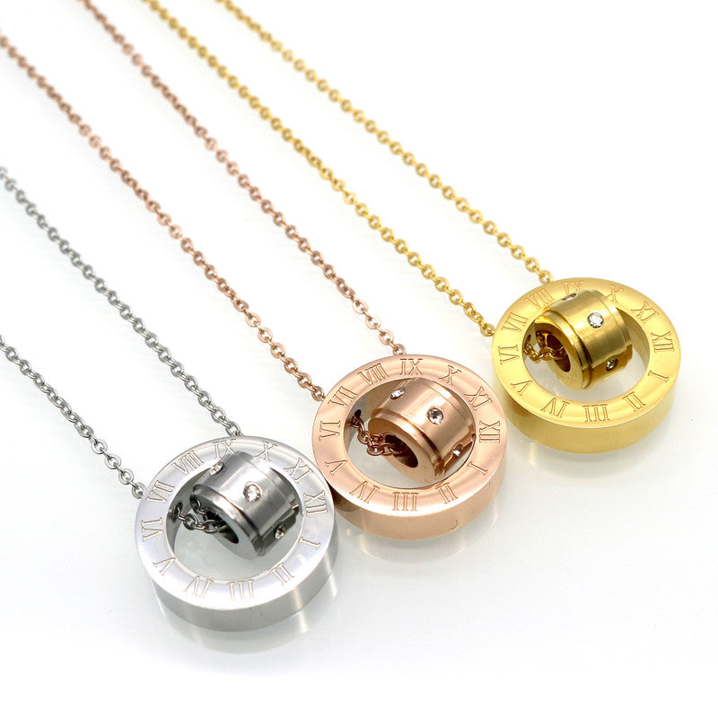 Fashion Women Jewelry Brand 18K Gold Plated Roman Letter Ure Clear Simply Turnable Small Round Cubic Zirconia Pendant Necklace