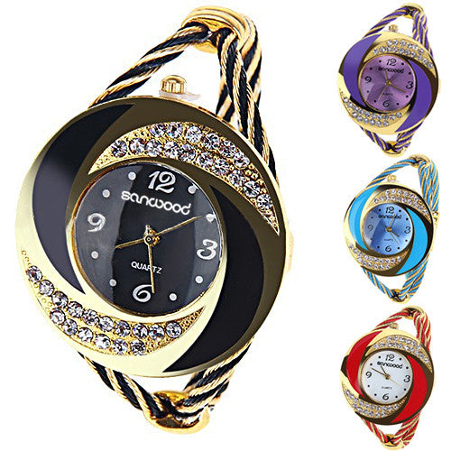 Fashion Women Rhinestone Round Crystal Decorated Bangle Cuff Analog Quartz Bracelet Dress Watch