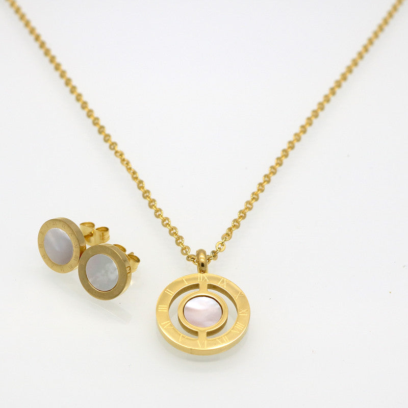 Fashion Women Roman Letter 18K Gold Plated Natural Pearl Shell Wedding Jewelry Sets With Necklace+Earrings