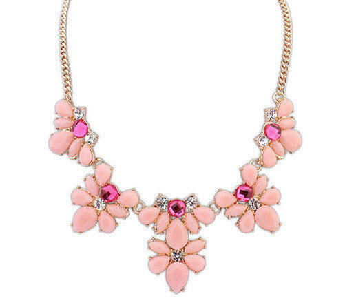 Fashion Women's Crystal Flower Chunky Statement Bib Pendant Chain Choker Necklace necklaces & pendants