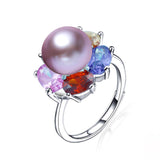 Fashion colorful AAA CZ 925 sterling silver ring for women new arrival natural 10-10.5mm freshwater pearl jewelry