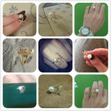 Fashion jewelry starfish imitation pearl rings gold ring women jewlery Open cuff Ring Animal Star Adjustable Crystal Rhinestone