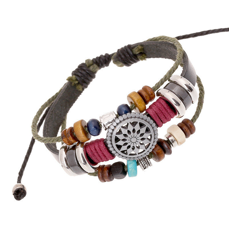 Fashion leather beaded bracelet women personality casual sun flower alloy hand woven vintage bracelet men punk dress bracelet