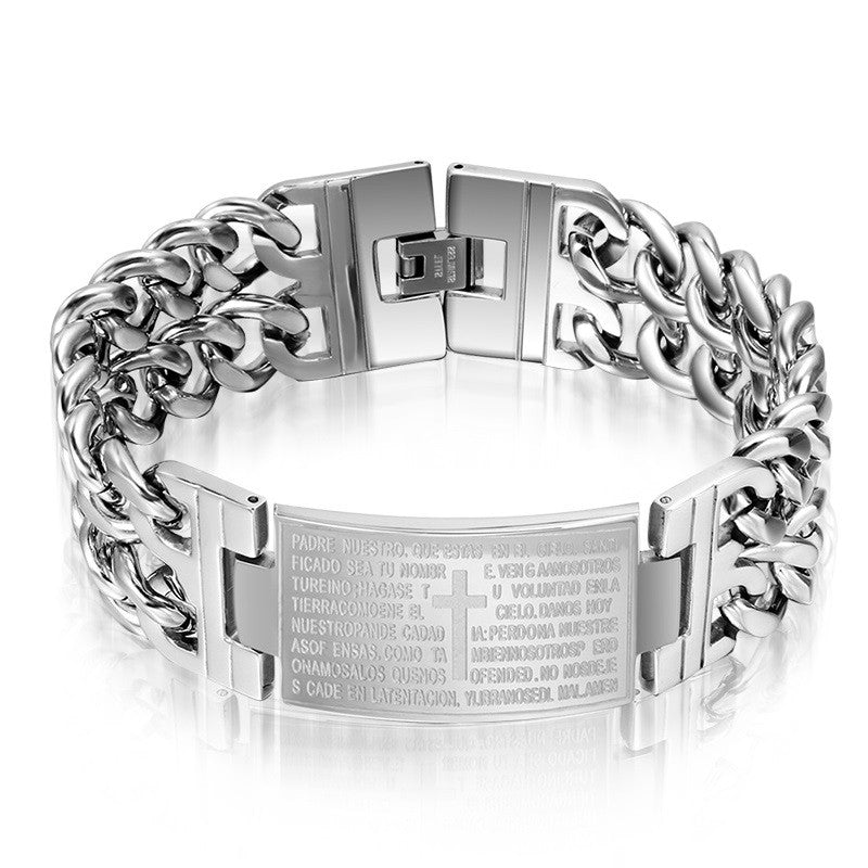 Fashion men bracelets &bangles stainless steel bracelet with cross design jewelry