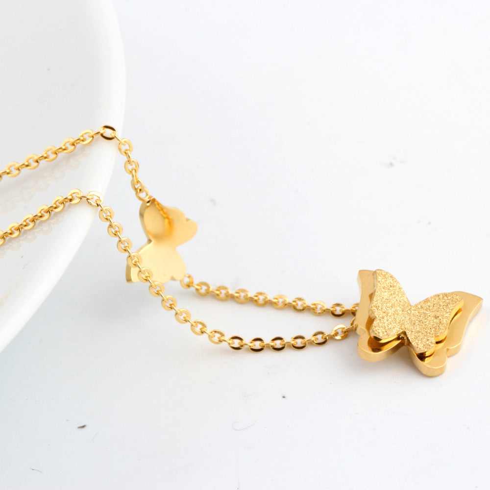 Fashion vintage rose gold plated stainless steel butterfly necklace dull polish Statement necklace for women