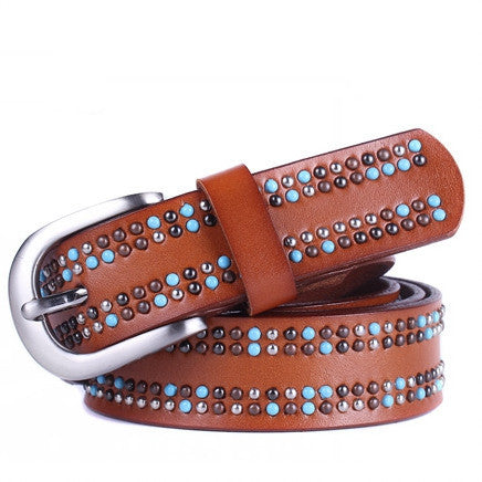 Fashion 100% Genuine Leather Belt women Pearl decoration cintos femininos Metal Pin Buckle Belts For Women