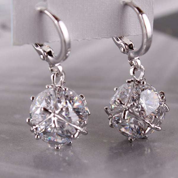 Fashion 18K Gold Plated Drop Earrings for Women Long Dangle Earing Crystal CZ Zircon Statement Wedding Ball Jewelry