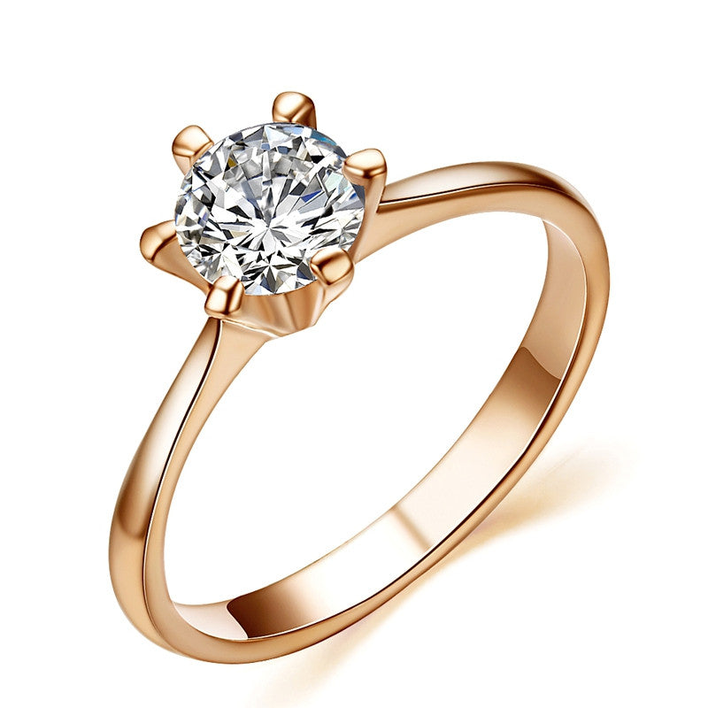 Fashion 18K Rose Gold Plated Classic 6 Prong Sparkling Solitaire 1ct CZ Wedding Rings